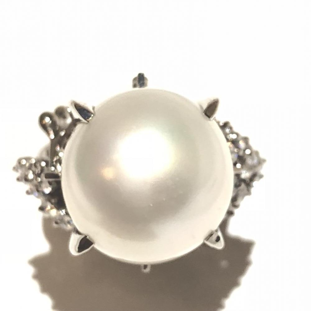 大粒 パール付き ダイヤ 0.41ct リング Pt900 プラチナ 指輪 シロチョウ真珠 サイズ約12号 レディース 綺麗 管理YH0057