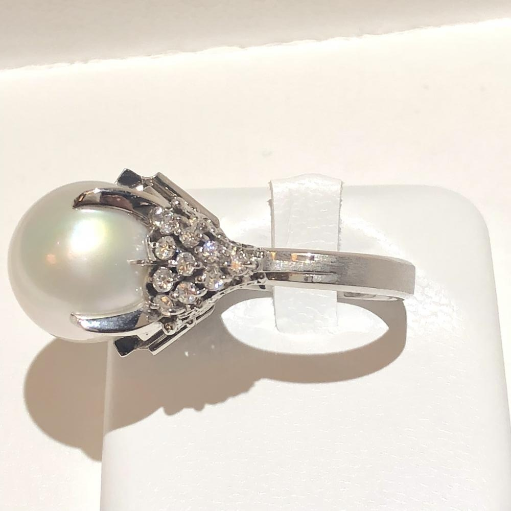 Diamond 0 41ct ring Pt900 platinum ring brimstone butterfly pearl size  approximately 12 lady's beautiful management YH0057 with the large drop of