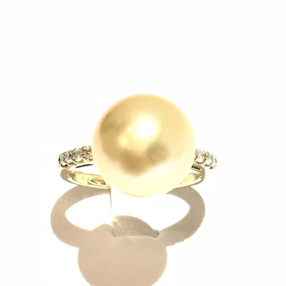 K18 パールリング 約5.5gメレ0.13ct レディース 指輪 #51 11号 イエローゴールド 真珠 ジュエリー アクセサリー 貴金属 管理MA0067