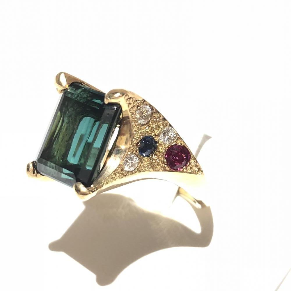 トルマリン 5.592ct メレダイヤ 0.12ct リング 指輪 K18 ゴールド サイズ約11号 レディース アクセサリー 鑑別書 管理YH1313