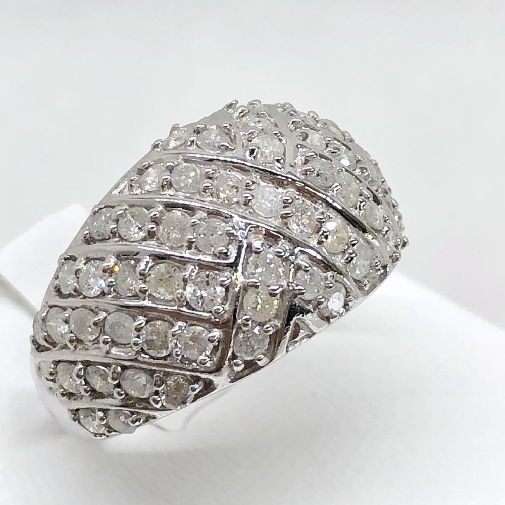 美品 メレダイヤ D2.00ct リング K18WG ホワイトゴールド サイズ約17号 サイズ大きめ 貴金属 指輪 アクセサリー ジュエリー 管理YH1448