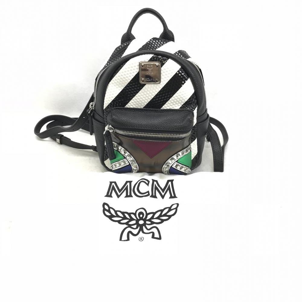 MCM エムシーエム ミニ リュック 5ARO06 スタッズ レザー ブラック ホワイト レディース ストライプ ギャラ 保存袋 中古 管理HS1945