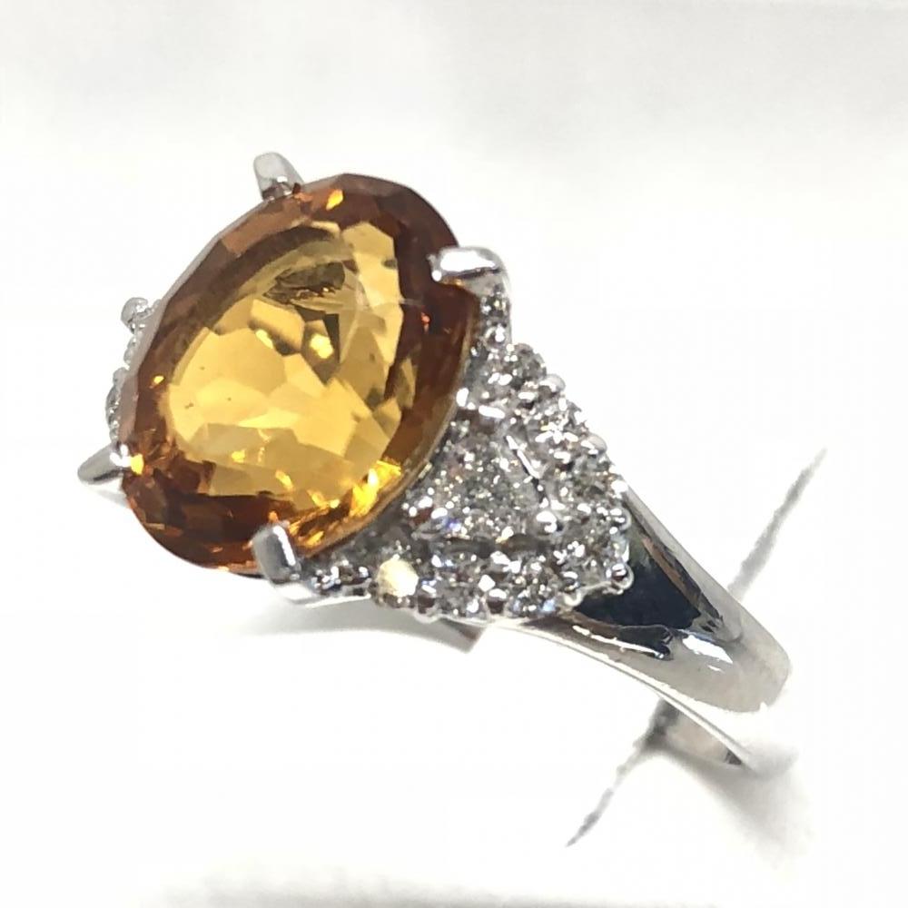 シトリン メレダイヤ D0.35ct リング 指輪 Pt900 プラチナ サイズ約12.5号 レディース 貴金属 アクセサリー 管理YH2387