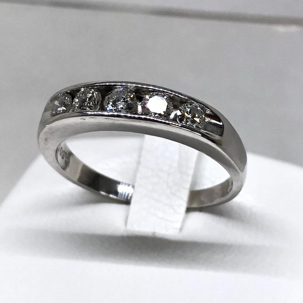 ダイヤモンド D0.505ct Pt900 プラチナ リング サイズ約15.5号 一文字 指輪 大きめ レディース アクセサリー ジュエリー 管理YH2424