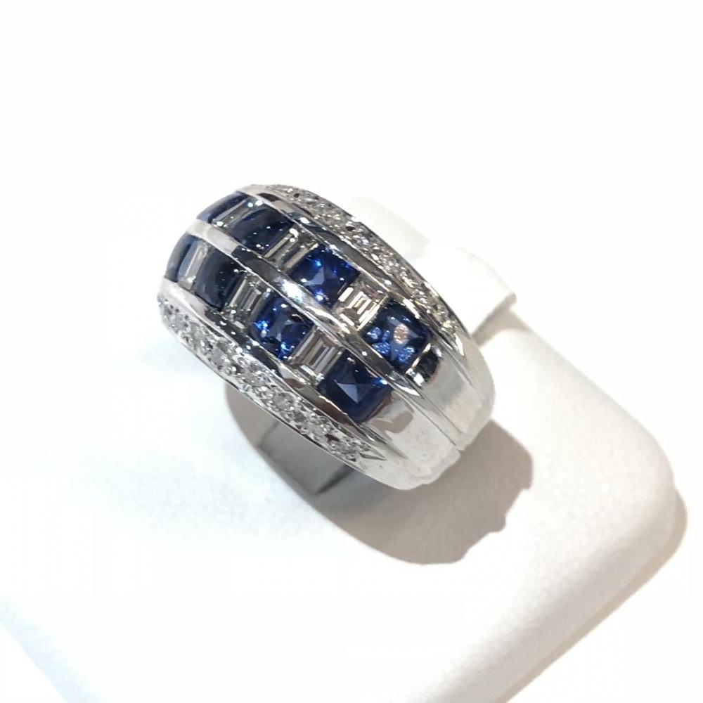 サファイア 1.85ct メレダイヤ 0.84ct リング Pt900 プラチナ 指輪 レディース サイズ約13号 アクセサリー かわいい 管理YH2436