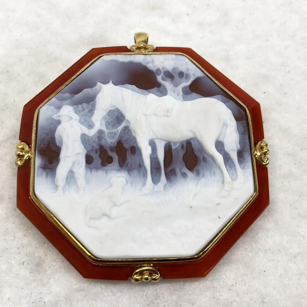 カメオ ブローチ K18 ゴールド ネックレス ペンダントトップ アクセサリー 首飾り 馬 ホワイト 装飾品 レディース 管理YH2517