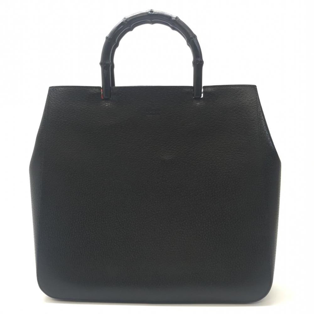 GUCCI グッチ 02・1060・002058 ハンドバッグ バンブー レザー スゥエード ブラック レッド レディース 保存袋 中古 管理HS18399