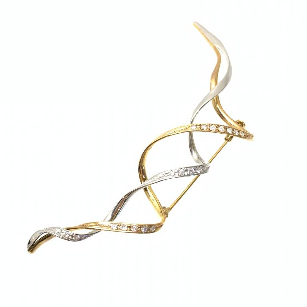 K18 ブローチ 15.6g ダイヤモンド イエロー ホワイトゴールド アクセサリー ジュエリー レディース 婦人雑貨 パーティー 管理RY18454