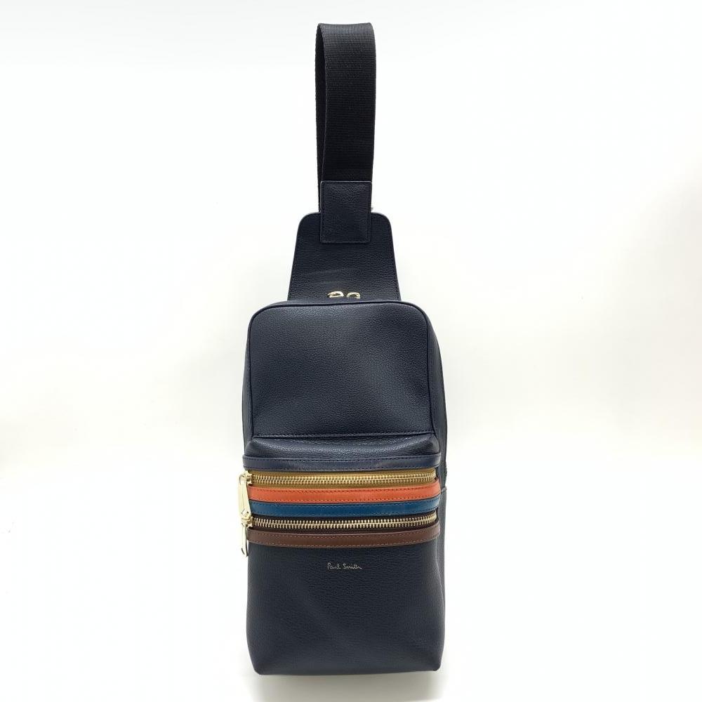Paul Smith ポールスミス シグネチャージップストライプ ボディバッグ ネイビー メンズ バッグ 管理RM18618