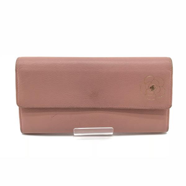 CHANEL シャネル カーフスキン カメリア レザー ピンク 二つ折り長財布 さいふ サイフ コインケース カード入れ 女性 レディース 管理15000747
