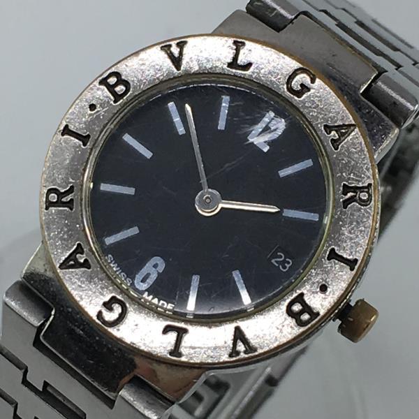 BVLGARI ブルガリ BB23GL ブルガリブルガリ 腕時計 レディース クォーツ SS ステンレススチール 黒文字盤 デイト 2針 女性 管理YK18004735