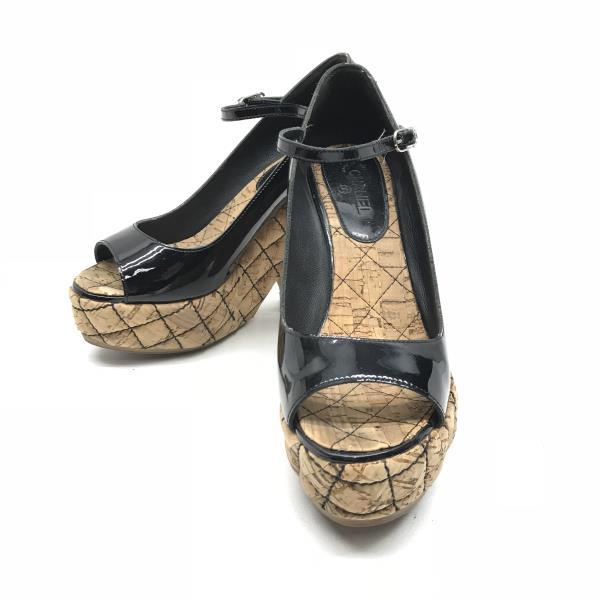 CHANEL シャネル パンプス ウェッジソール オープントゥ 靴 サイズ約23cm~ 高さ約12cm ブランド レディース 管理RY18005628