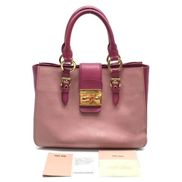 MIUMIU ミュウミュウ RN0799 ハンドバッグ かばん カバン ピンク色 2014年購入品 レディース ブランド 管理RY19000273