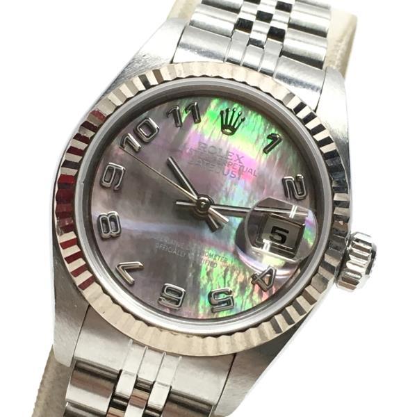 ROLEX ロレックス 79174NA デイトジャスト 腕時計 ブラックシェル文字盤 F番 アラビア 3針 レディース 自動巻き 箱 ギャラ 管理RY19000879