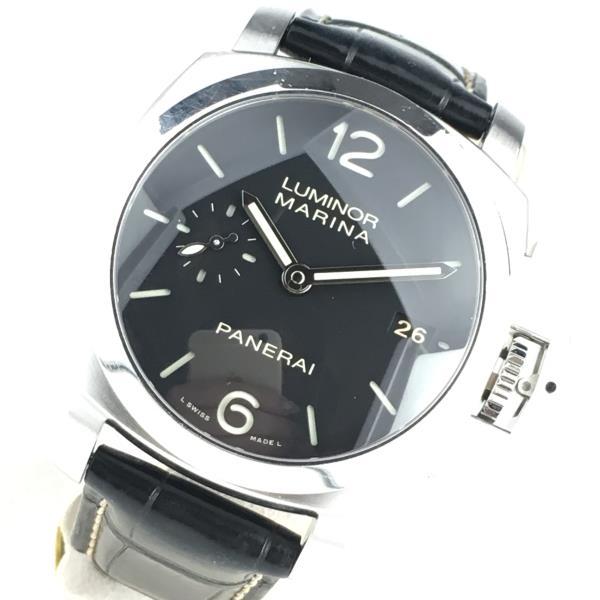 PANERAI パネライ ルミノールマリーナ 3DAYS PAM00392 腕時計 レザーベルト 黒文字盤 3針 日付表示 管理RY19000168
