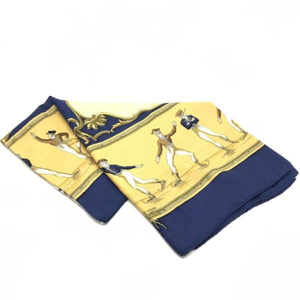 HERMES エルメス ストール スカーフ マフラー PLAISIRS DU FROID 絹 シルク ネイビー イエロー レディース 管理RY19000538