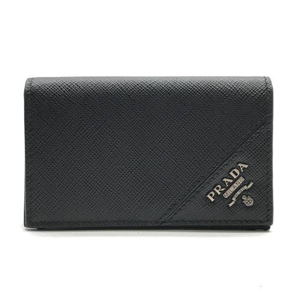 美品 PRADA プラダ カードケース 名刺入れ ブラック 黒 レザー メンズ ビジネス 仕事用 ブランド 紳士雑貨 管理RY19002201