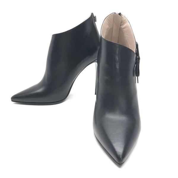 未使用 miumiu ミュウミュウ アンクルブーツ サイズ37(約23.5cm) 5T9355 ナッパ レザー 黒 ピンヒール 靴 レディース 管理RY19002784