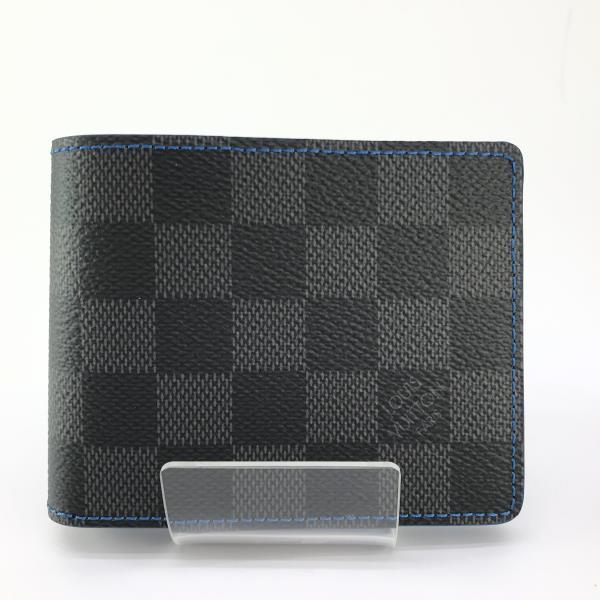 LOUIS VUITTON ルイヴィトン N64033 ダミエグラフィット ブルー ポルトフォイユ・スレンダー メンズ 二つ折り財布 札入れ 管理19003719