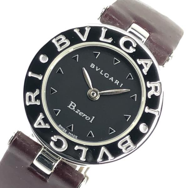BVLGARI ブルガリ BZ22S B-ZERO1 ビーゼロワン レディース クオーツ 腕時計 ボルドーカラーエナメルレザーバンド Dバックル 管理19004543