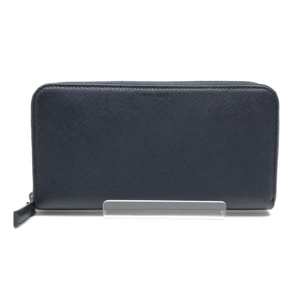 PRADA プラダ 長財布 さいふ ラウンドファスナー コインケース 小銭入れ カードケース 紺色 ネイビー メンズ ブランド 管理RY19004237
