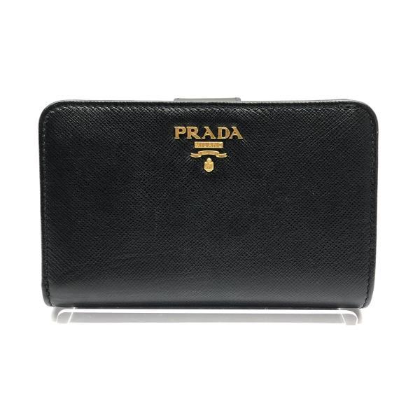 PRADA プラダ 1ML225 二つ折り財布 サフィアーノ 黒 レディース L字ファスナー 小銭入れ有 10枚カード収納可 コンパクト 管理RY20000016