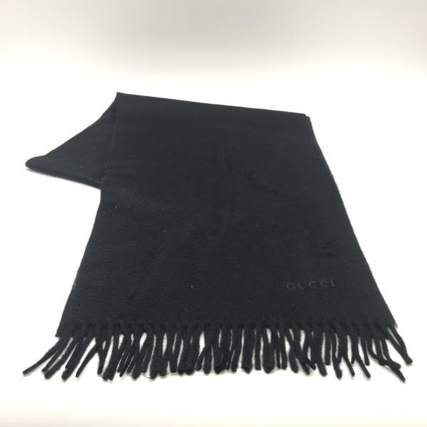 GUCCI グッチ カシミアマフラー ブラック メンズ レディース 服飾雑貨 イタリア製 ブランドロゴ 首周り 管理YK19003717