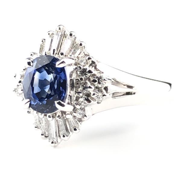 サファイア×ダイヤモンド pt900 プラチナ リング 指輪 約7.1g 11号 S1.22ct D0.37ct アクセ ジュエリー レディース 管理RY19004644