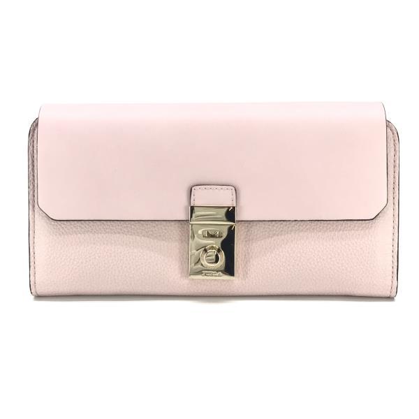 美品 FURLA フルラ ミラノXL バイフォールド ウォレット レディース 二つ折り長財布 レザー ピンク フラップ アコーディオン管理YK20000554