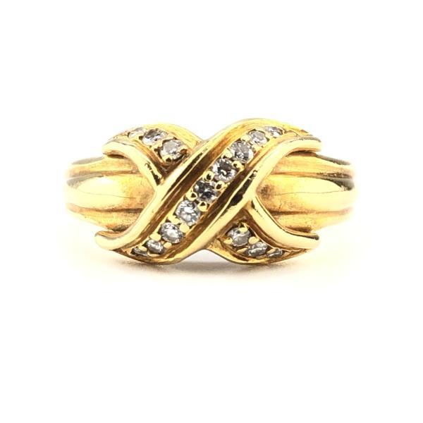 TIFFANY ティファニー シグネチャー クロスダイヤモンド 11号 リング 指輪 K18YG イエロー ダイヤモンド ジュエリー アクセ 管理RY20000660