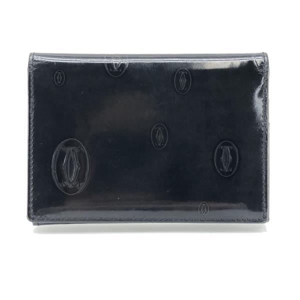 Cartier カルティエ カードケース ハッピーバースデー 定期入れ パスケース 名刺入れ エナメル 黒 ブラック メンズ 管理RY20000771
