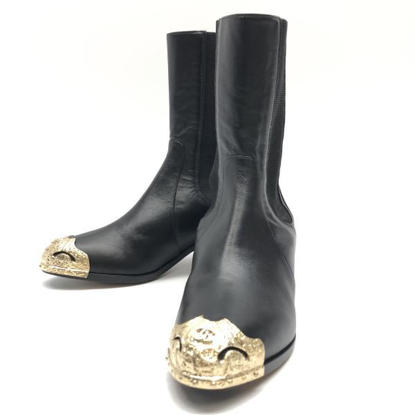 ほぼ未使用 CHANEL シャネル パリダラスコレクション ブーツ サイズ36(約23cm) G60046 ブラック 黒 レザー レディース 靴 管理RY20000760