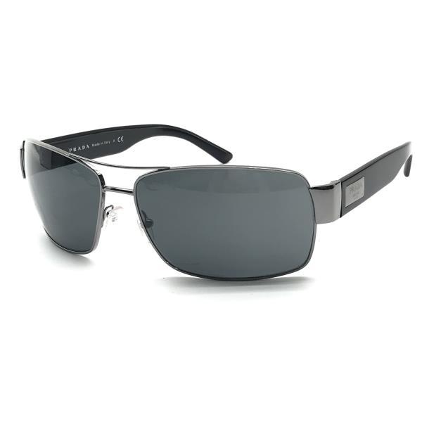 美品 PRADA プラダ SPR660 5AV-1A1 サングラス スクエア メンズ 黒 シルバー 64□15 130 メタル プラスチック 服飾雑貨 管理YK20001001