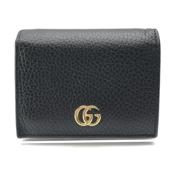 GUCCI グッチ 456126 プチマーモント コンパクト 財布 GG ブラック 黒 二つ折り コインケース 小銭 カード コンパクト 管理RY20001046