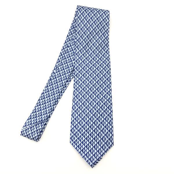 HERMES エルメス シルク ネクタイ ブルー H柄 剣先幅約9.5cm メンズ 紳士 スーツ ジャケット ビジネス 仕事 ブランド 管理RY20001168
