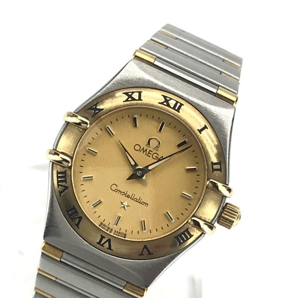 OMEGA オメガ 1262.10 コンステレーション ミニ レディース 腕時計 クォーツ コンビ ゴールド文字盤 2針 バーインデックス 管理YK20001455