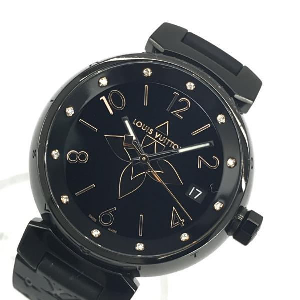 LOUIS VUITTON ルイヴィトン QA048Z タンブール オールブラック34 レディース 腕時計 クォーツ 黒文字盤 12Pダイヤ ロゴ 管理YK20001776