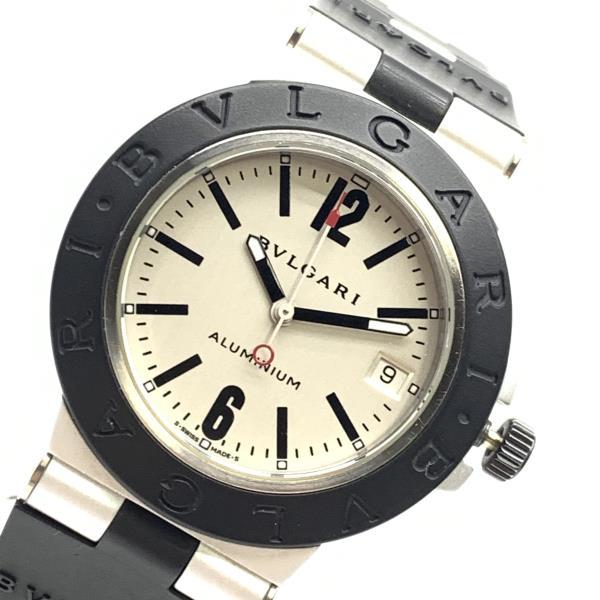 BVLGARI ブルガリ 腕時計 AL38TA ブルガル アルミニウムウォッチ 自動巻き シルバー文字盤 3針 カレンダー デイト メンズ 管理RY21003242