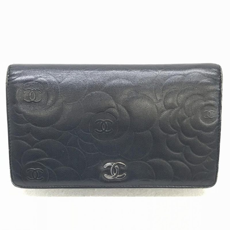 CHANEL シャネル 二つ折り財布 カメリア ブラック シルバー 札 小銭 カード収納 レディース 箱 ギャラ付き 中古 管理HS1290