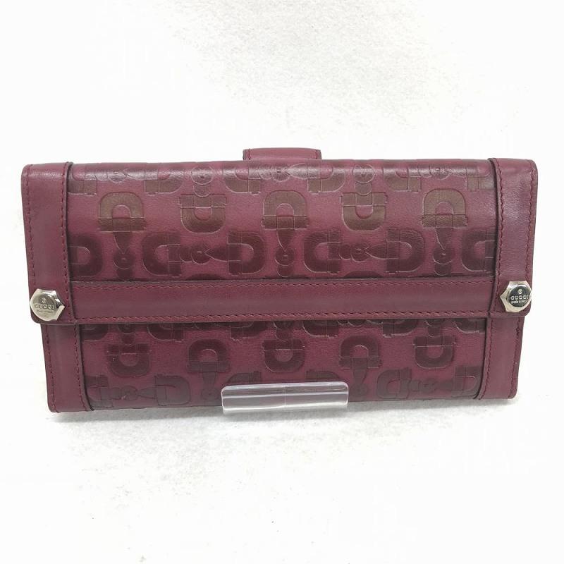 グッチ GUCCI 231839 レザー ビット柄 Wホック 長財布 レッド 赤系 2つ折り ブランド小物 レディース 女性用 管理RM1294