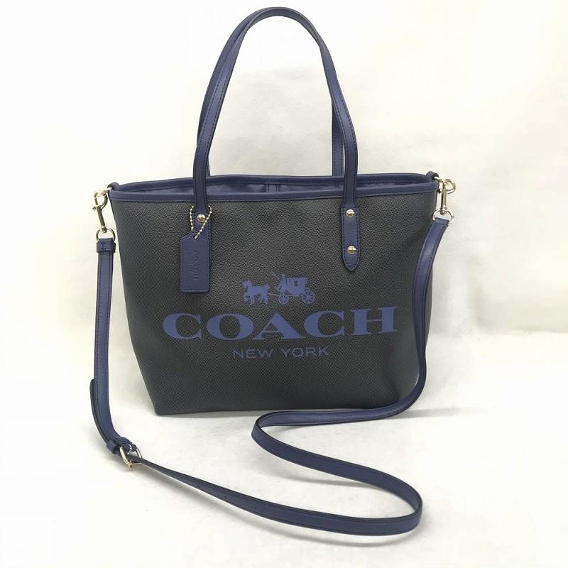 コーチ COACH/ F36588 2WAY トートバッグ、ショルダーバッグ ブルーxネイビー 中古 美品 管理EM