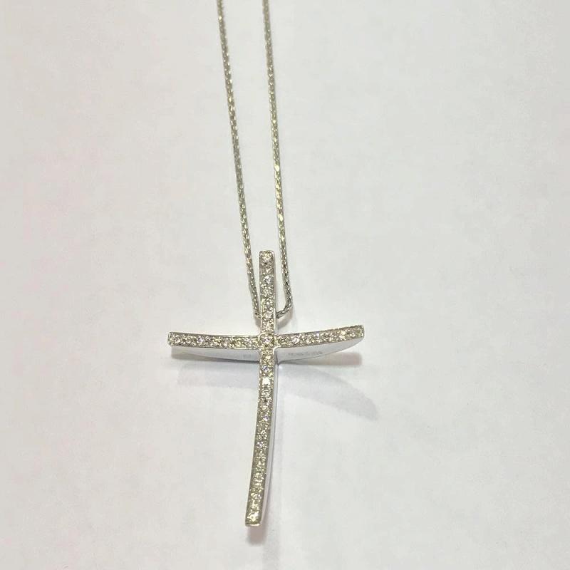 CHIMENTO キメント/ ネックレス クロス ダイヤモンド 9.8g ネックレス42cm / K18WG 750 金 ホワイトゴールド