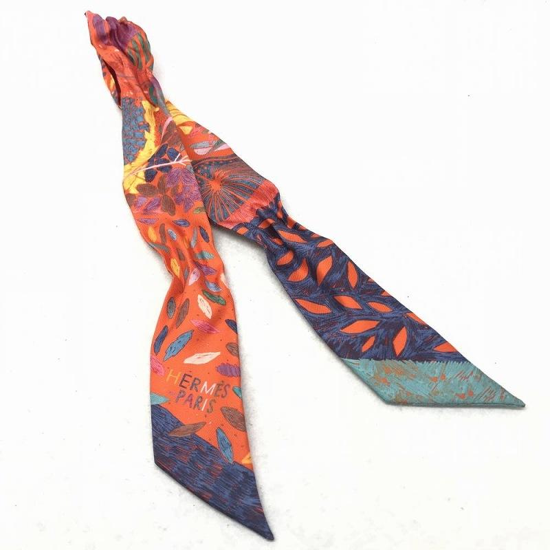 エルメス HERMES/ ツイリー オレンジxブルーxグリーン 中古 美品 スカーフ バッグ 装飾 管理EM