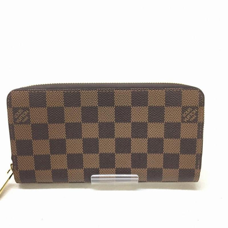 LOUIS VUITTON ルイ・ヴィトン N41661 ジッピーウォレット ダミエ ブラウン ゴールド金具 保存袋 ユニセックス 18年製 管理HS9716