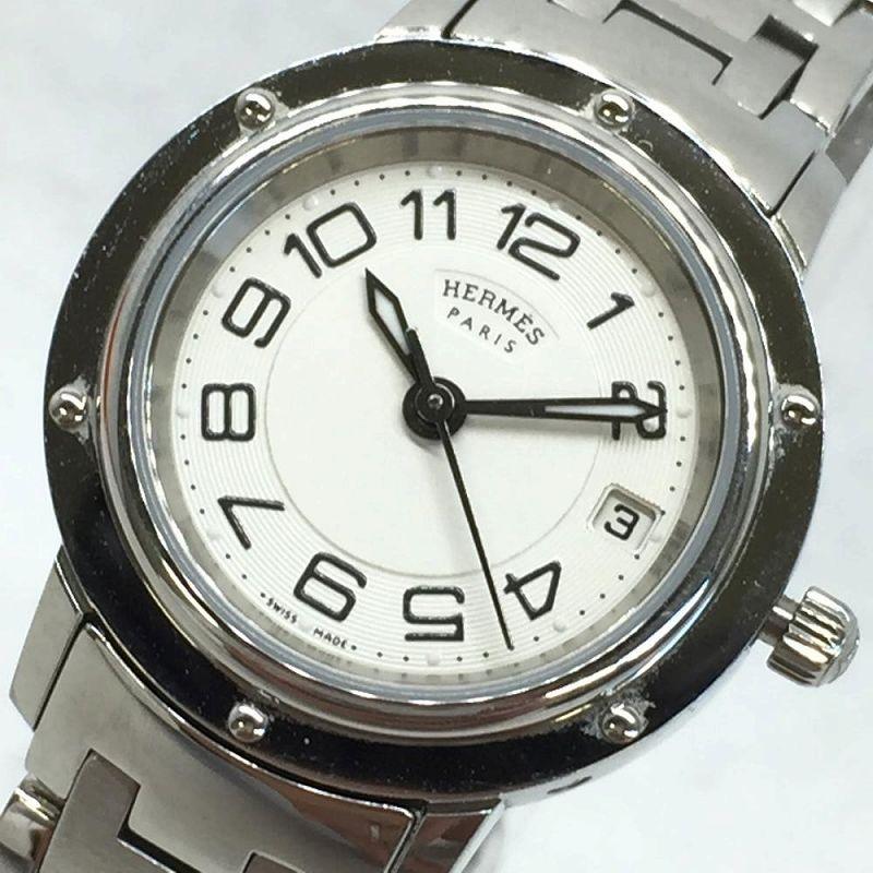 HERMES エルメス クリッパー CP1.210 白文字盤 アラビアインデックス 白文字盤 レディース クオーツ 腕時計 デイト ステンレス YI