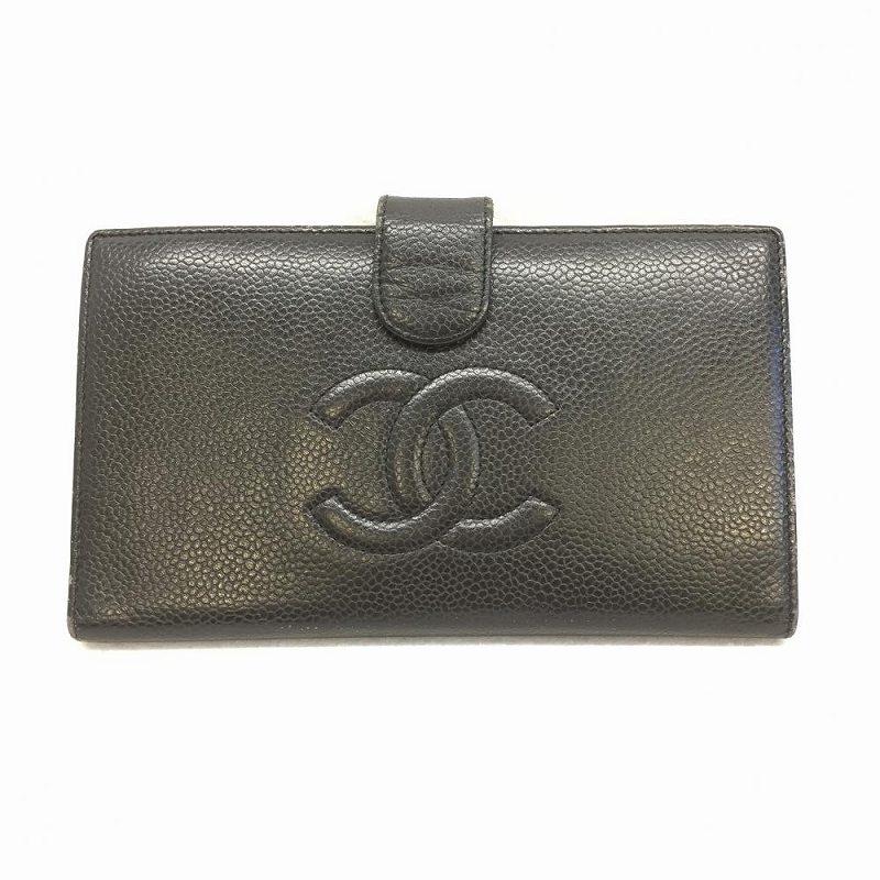 シャネル CHANEL/ A13498 キャビアスキン 長財布 がま口 中古 レディース ココマーク ブラック 管理EM1291