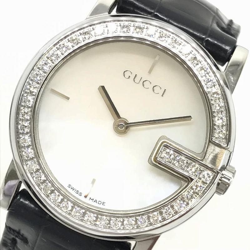GUCCI グッチ 101L Gラウンド レディース クオーツ腕時計 シェルインデックス ダイヤベゼル レザーベルト 美品 稼働品 管理YI1891