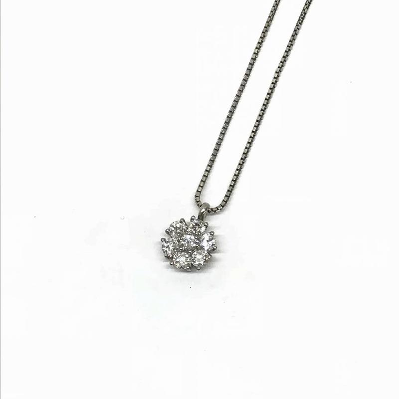Pt900 Pt850 プラチナ/ ダイヤモンド 1ct ネックレス 5.5g 40cm 中古 美品 管理EM2414