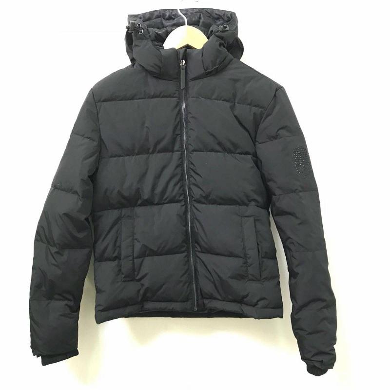 ROEN ロエン ラインストーンスカル ダウンジャケット ブラック 黒 フード付き ポリエステル100% サイズS メンズ 中古 管理HS8064