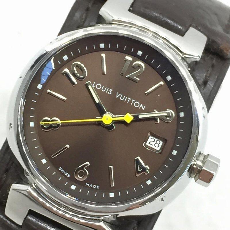 LOUIS VUITTON ルイヴィトン Q1211 タンブール クォーツ PM レザーバングル ウォッチ 尾錠タイプ レディース腕時計 モノグラム 管理YI10089